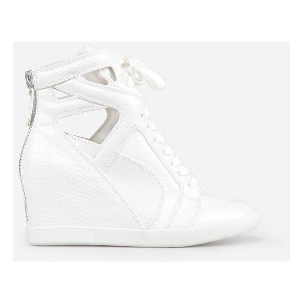 CHARLES & KEITH High-Top Wedge Sneakers ($19) ❤ liked on Polyvore featuring shoes, sneakers, white, high top sneakers, lace up wedge sneakers, zipper sneakers, high top shoes en white wedge sneakers