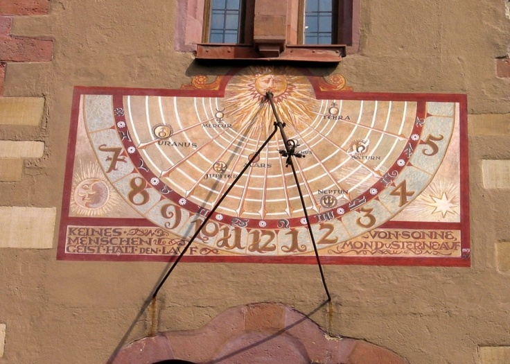 In Germany, a vertical sundial.