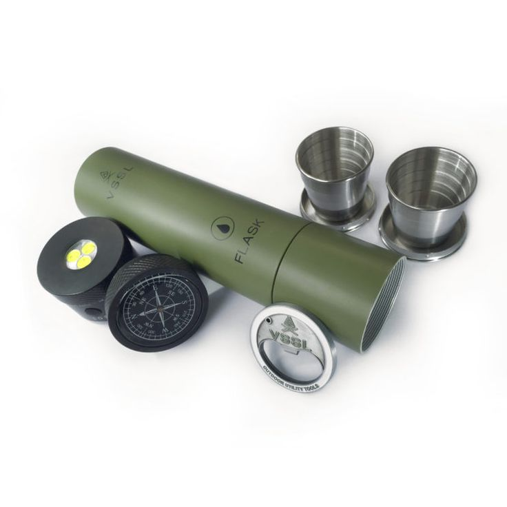 VSSL camping flask, flashlight, compass, 2 shot glasses and a bottle opener in one military grade aluminum casing that's almost I destructible!