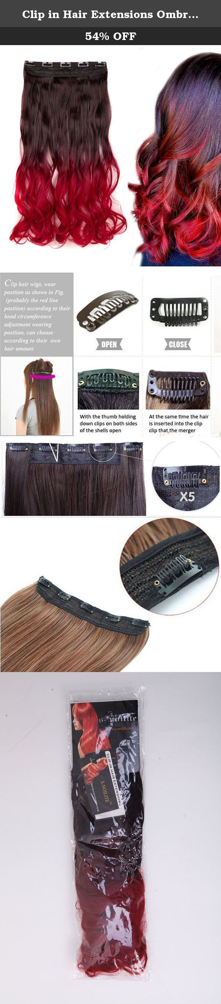 Clip in Hair Extensions Ombre Dip Dye Color Synthetic Hairpiece 2 Tone Japanese Kanekalon Fiber Full Head Thick Long Curly Wavy 1pcs 5clips for Women 23'' / 23 inch (Dark brown to Dark Red). Product information Materials: Kanekalon Fiber from Japan(also known as KK wire) Length: 23inch without stretching Suitable Occasions: daily use,Halloween,cosplay,club,concerts,costume,theme parties,bachelorette party,weddings,dating,conventions,masquerades,prom,evening out,carnival,April Fool's Day…
