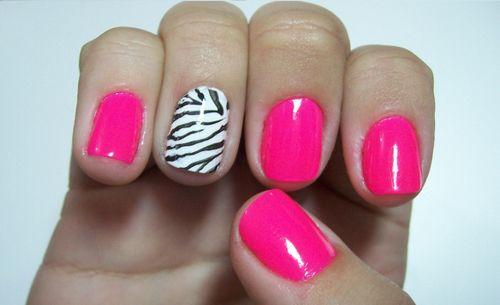 ZebraZebras Parties, Accent Nails, Pink Zebras, Pink Nails, Parties Nails, Hot Pink, Animal Prints, Zebras Prints, Zebras Nails