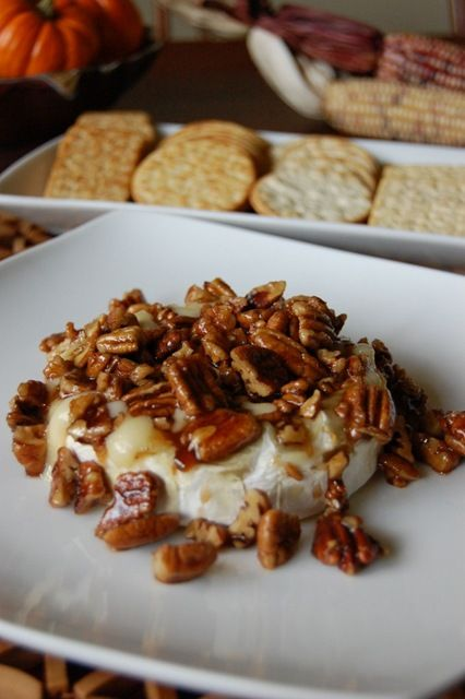 Pecans - just toast pecans mixed in maple syrup. Pour maple over Brie ...