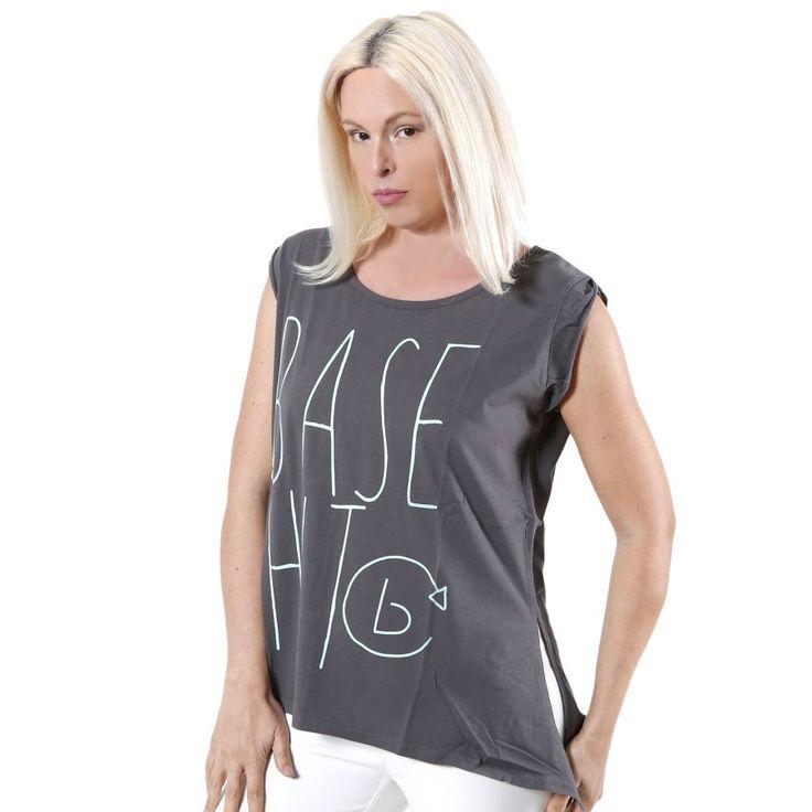 BASEHIT Γκρί μπλουζάκι, άνετη γραμμή