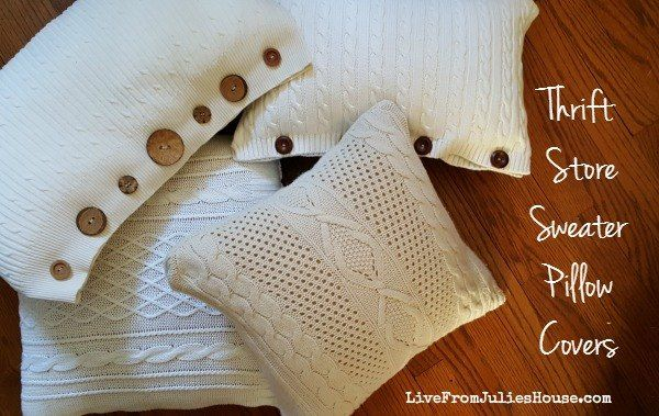 Thrift Store Sweater Pillow Covers Tutorial