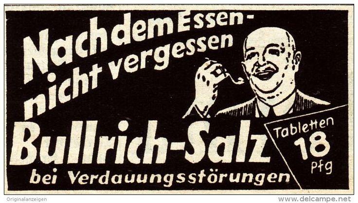 Original-Werbung / Anzeige 1938 - BULLRICH SALZ  - ca. 60 x 35 mm