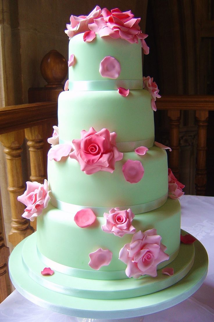 Mint Green Wedding Cake With Pink Roses Green Wedding