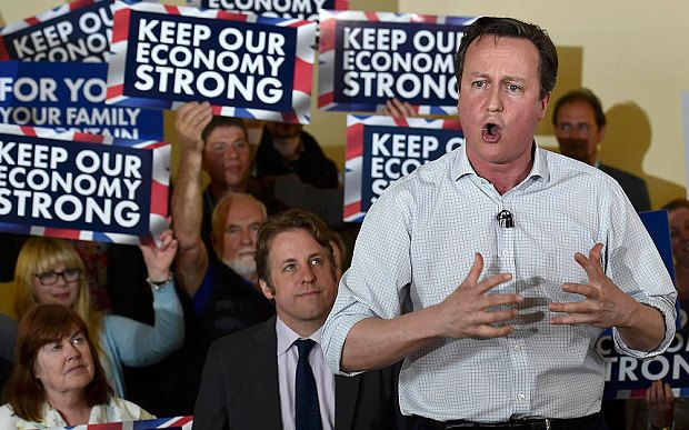 """April 2015: David Cameron: Tories are the party of 'grafters, roofers, retailers and plumbers' Launching his small business manifesto, the Prime Minister will say that he """"gets"""" and """"respects"""" the small businesses that are the """"backbone of our economy"""".   David Cameron delivers a speech to party activists whilst campaigning in Norton Sub Hamdon near Yeovil"""