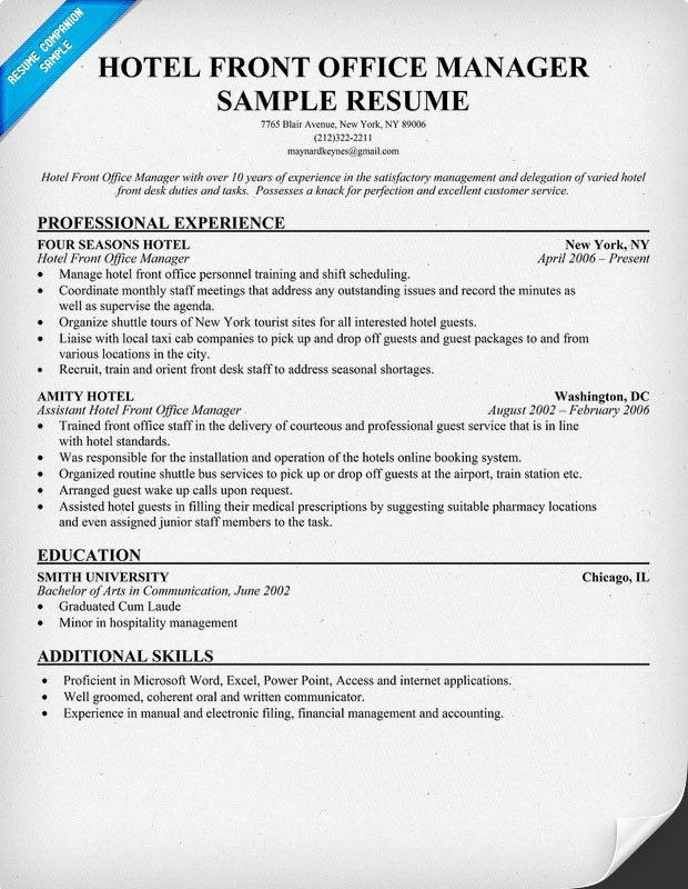 hotel front office manager resume example