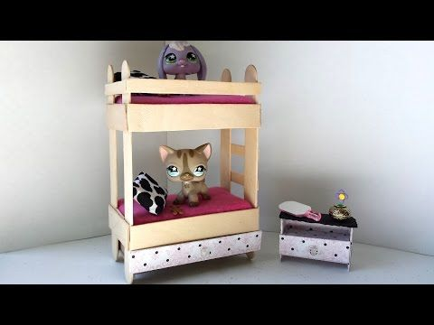 How to Make a Tiny Bunk Bed with Drawer for LPS: Littlest Pet Shop Doll DIY Accessories - YouTube