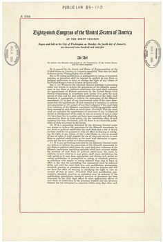 The Voting Rights Act of 1965 was signed into law by U.S. President Lyndon B. Johnson on August 6, 1965. This law was created to enforce the Fifteenth Amendment of the United States Constitution. The Voting Rights Act of 1965 banned such discriminatory practices as literacy tests for voters.