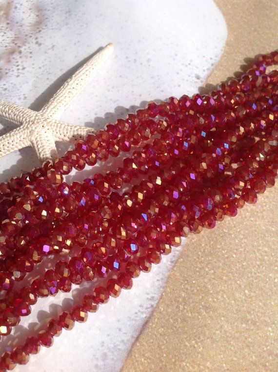 4x3 Crystal rondelle beads-50 pc strand-faceted glass beads-Tiaria Chinese crystals-red glass-AB finish-beading supplies-wholesale crystals