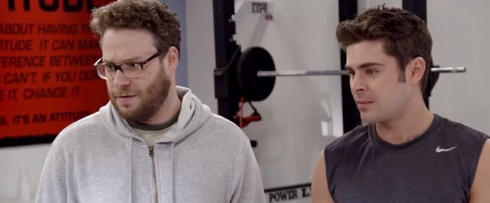 Seth Rogen and Zac Efron find Green Bay Packers quarterback Aaron Rodgers in the gym in ESPN's Neighbors commercial. Rogen completely embarrasses himself in front of the Superbowl MVP, who is apparently a huge fan.