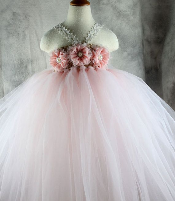 Pearl pink Flower girl dress Tutu dress by vivilovelytutudress
