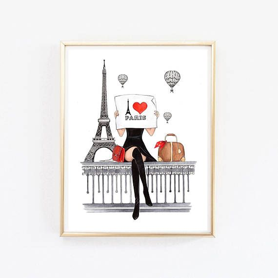 Paris print Paris art print Paris wall art Paris wall decor Fashion wall decor Fashion illustration Fashion wall art Paris poster This is a print - copy of my original artwork drawn with soft pastel and watercolor pencils. Available in 3 different sizes: A6 (4x6inches), A5