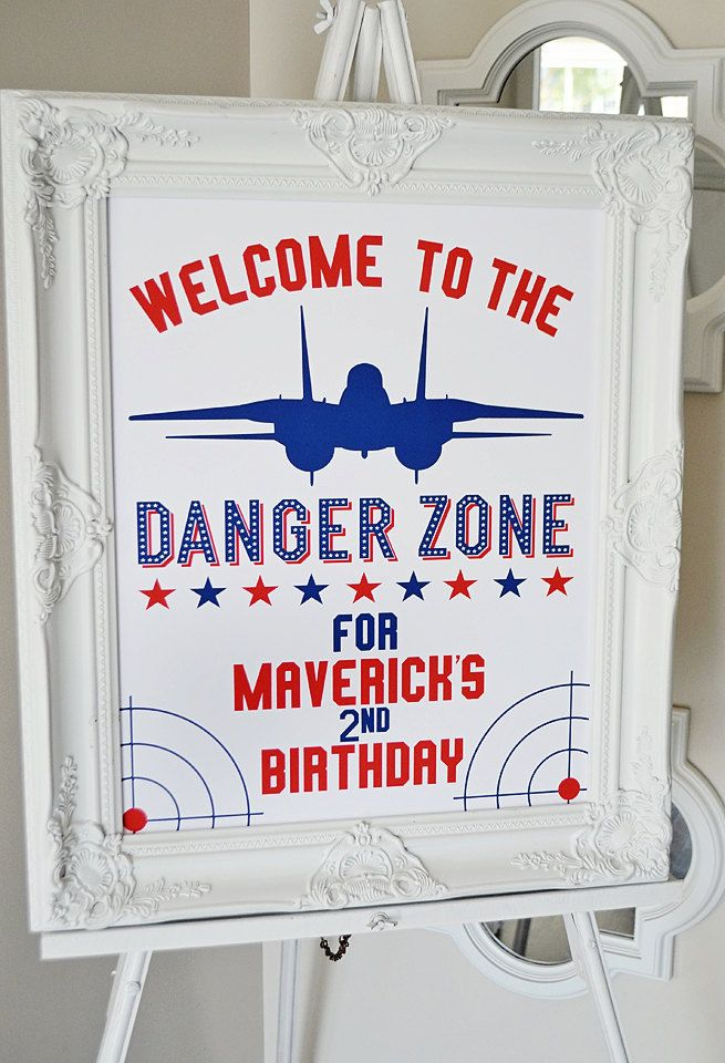 "Top Gun ""Welcome to the Danger Zone"" 16"" x 20"" CUSTOM Welcome Sign, Top Gun Maverick Party Printable PDF, Goose, The Need for Speed Aviator by EmilyEntertains on Etsy"