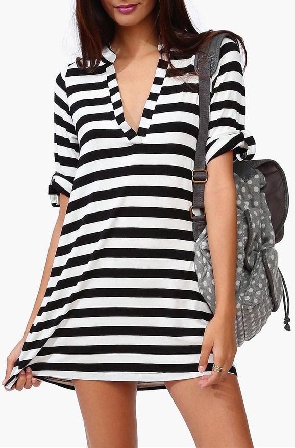 Goal Saver Stripe Dress in Black/White //