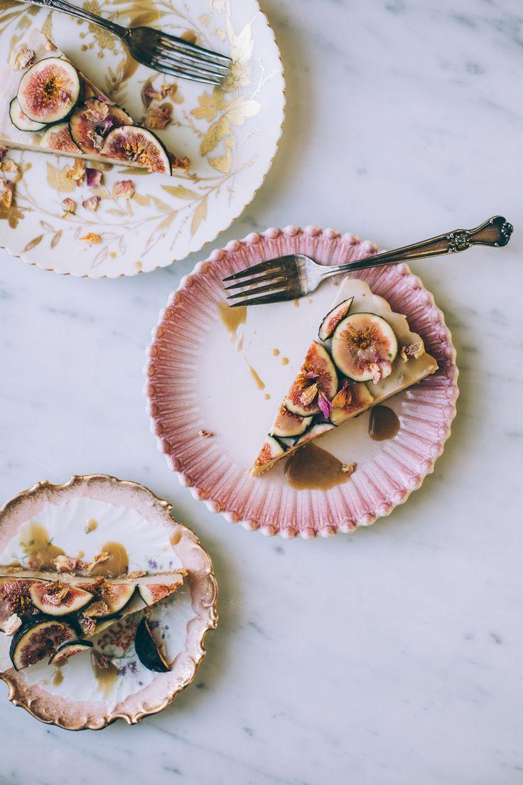 fig ginger cashew cream tart with cardamom, rose petals, vegan maple caramel sauce!