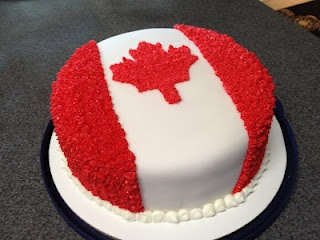 Canada Day Cake - they traced from a pic but I think I'll just make a mark in the icing with a leaf cookie cutter