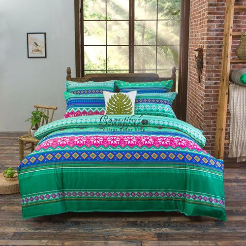 boho bohemian style butterfly bedding sets girls bright red blue purple bed linen moon love guitar