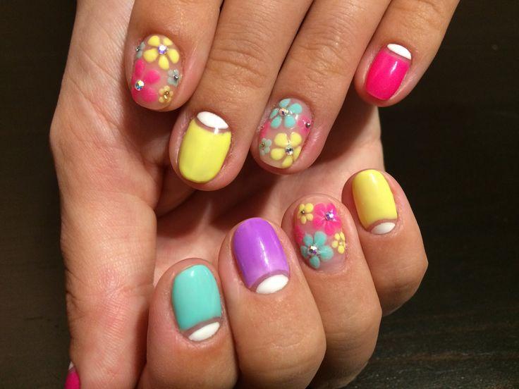 Яркий летний дизайн ногтей Гель лак Цветы. bright summer colors gel nail design nail polish - YouTube