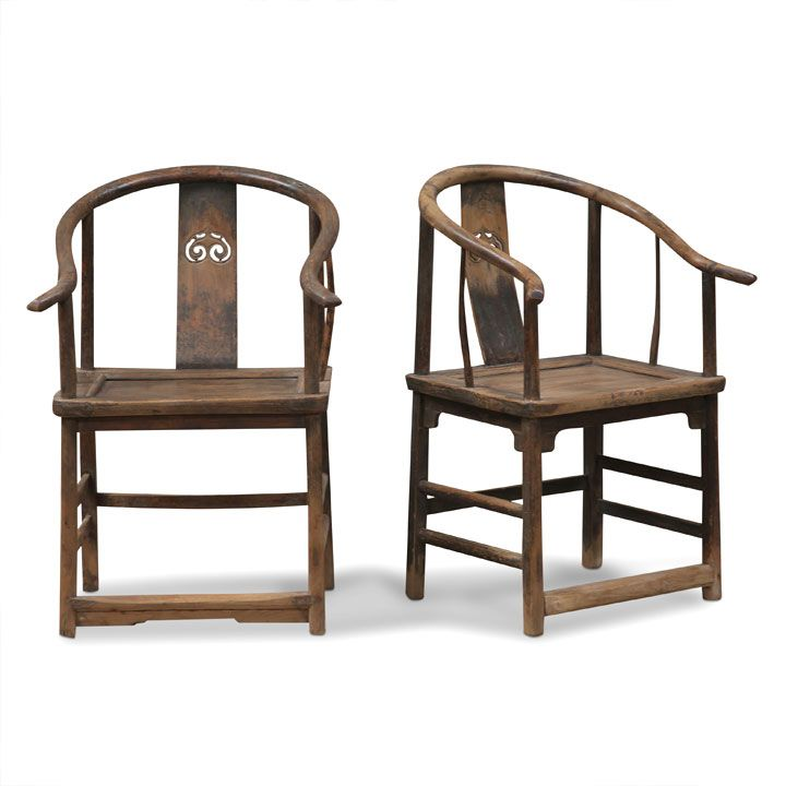 Pair of Antique Chinese Elm Horseshoe Armchairs #ChineseAntiques - 24 Best Rare Antiques From Asia Images On Pinterest Altar