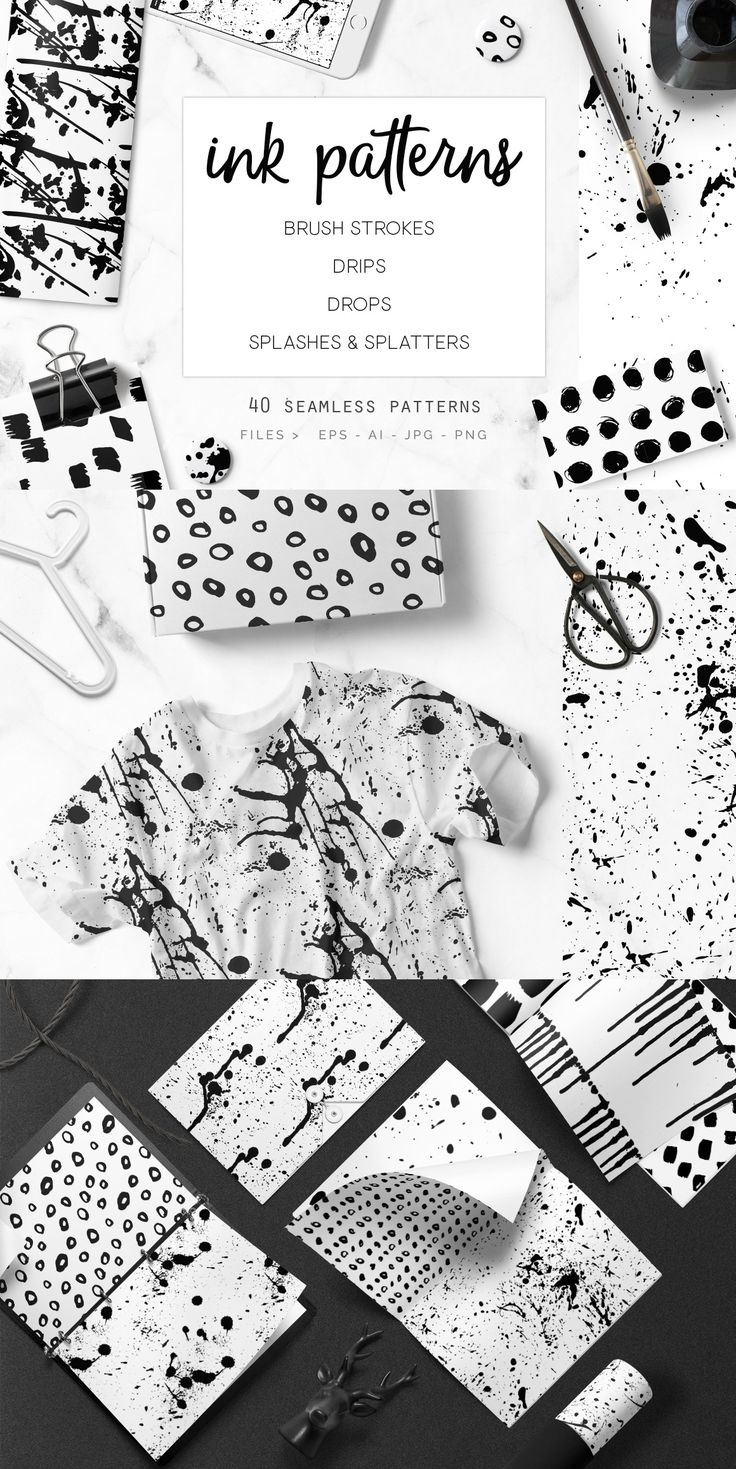 Splashes, splatters, drops, drips and brush strokes. A great Mega set of 40 seamless ink patterns with everything you may need for your projects, I basically got my hands dirty so you don't have to (and it was a big ink splash mess)! All handmade and unique. Use them for: Branding projects, letterheads, business cards As backgrounds for websites and blogs Wallpapers, invitations, clothing apparel and so much more! by @youandigra