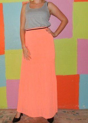 À vendre sur #vintedfrance ! http://www.vinted.fr/mode-femmes/robes-longues/30356822-robe-longue-sportwear-jupe-plisse-orange-fluo-tm38-40-mango-sportcasualoriginal