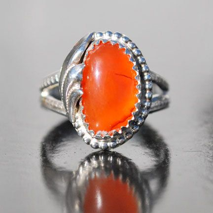 Carnelian Ring - Orange Gemstone Ring - Orange Ring - Sterling Silver Ring - Artisan Jewelry - Birthstone Ring - Natural Stone Ring - Size 6 by EarthsBountyGems on Etsy