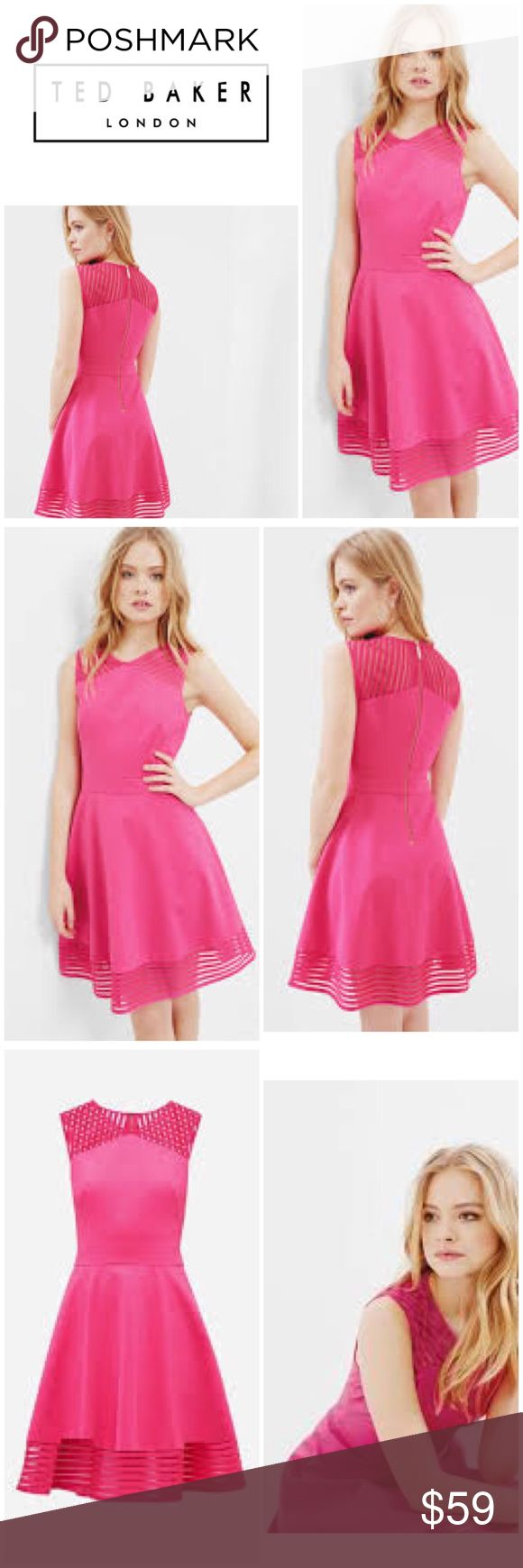 """New Ted Baker Eleese Mesh Skater Dress New with tags, Gorgeous! Ted Baker Fuchsia Mesh Skater Fit & Flare Dress.   Ted Baker Size 5 US Size 12 Bust: 41"""" Waist: 34"""" Hips: 44"""" Stretch   ————————————————  Originally bought for a client from Nordstrom's outlet store Last Chance. Never worn, doesn't have Ted Baker Tags, has the Nordstrom outlet tags.  I'm currently cleaning out my client closets. Open to offers on bundles. 15% off bundles of 3+!   Free gift with every purchase…"""