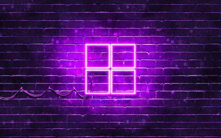 Télécharger fonds d'écran Microsoft violette logo, 4k, violet brickwall, Microsoft logo, marques ...
