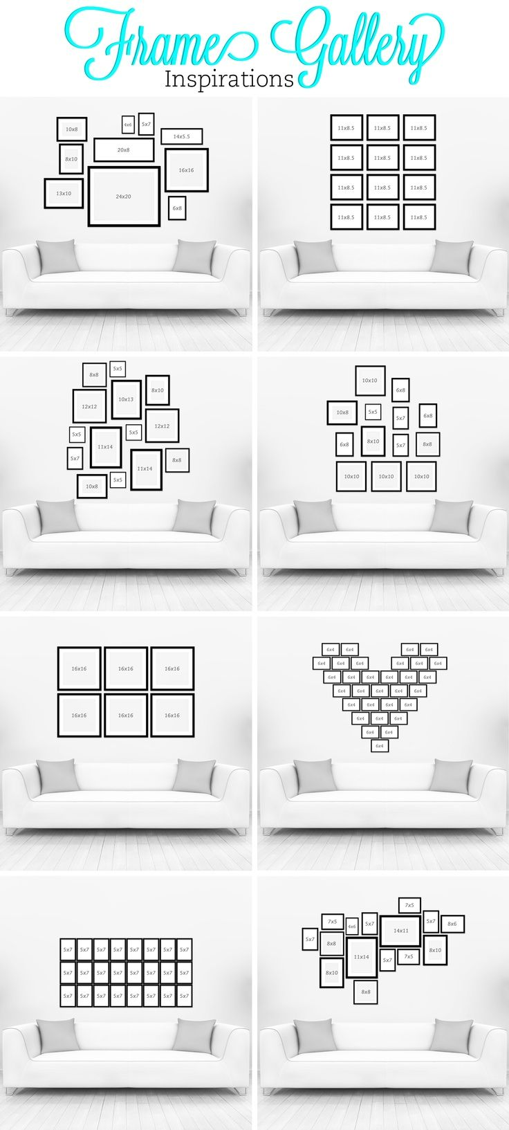 размещение  рамок Ideas + Inspiration for creating a Gallery Wall in any room of the home.