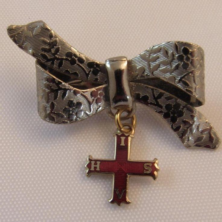 Red Cross of Constantine Enamel Pin on Bow Christian Masonry Masonic Order Masons