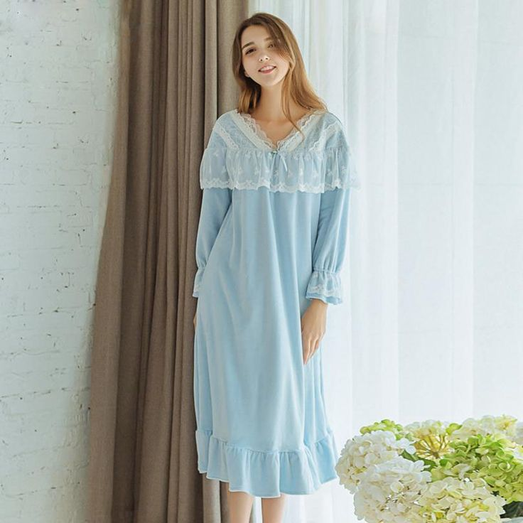 Plus Size Thickened Cotton Long Sleeved Long Nightgown Female Winter Spring Sleep Dress Home Furnishing Sleeping Dresses B5004