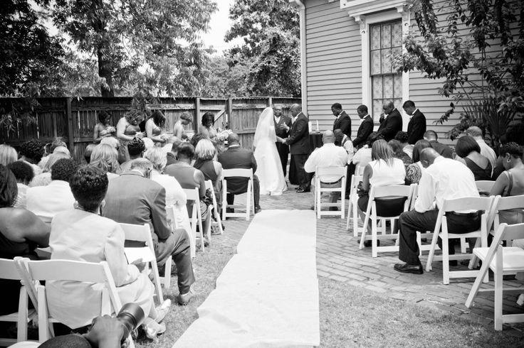 Outdoor Wedding Ceremony at The Garrett-Bullock House in Columbus, Georgia