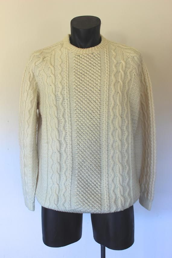 Creamy White Cable Knit Sweater Vintage Cable Knit Sz Medium Large Mens Jersey 44 Chest White Cable Knit Sweater Cable Knit Sweaters Cable Knit