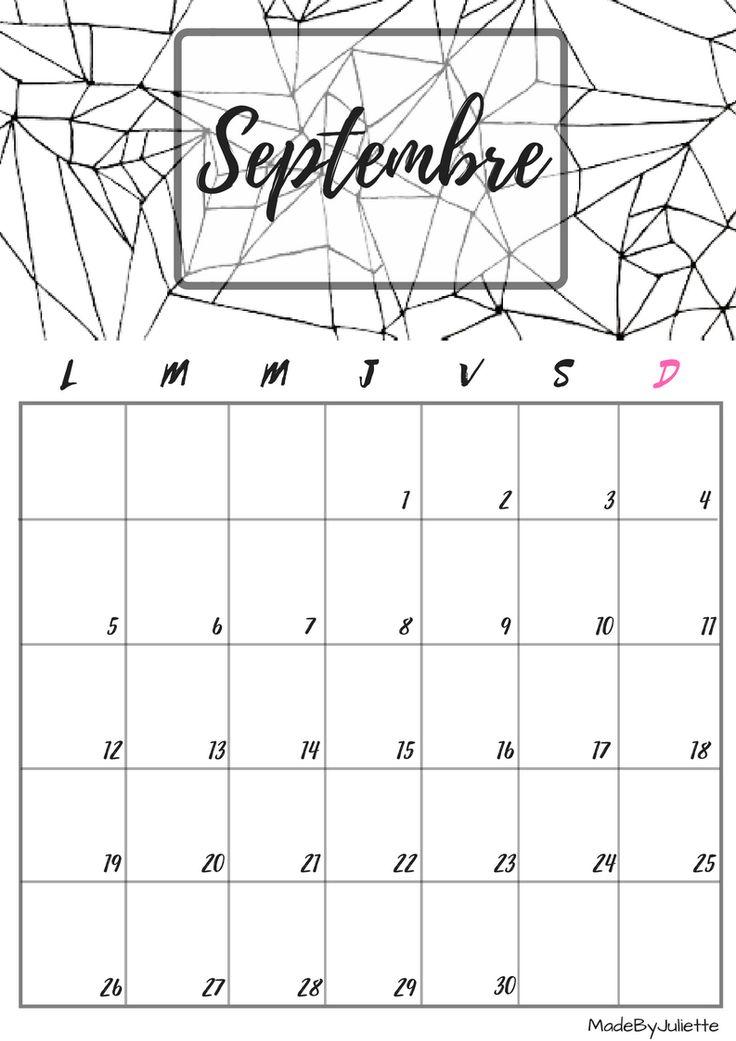 Calendrier - Septembre 2016 - Imprimes le calendrier pour customiser ton agenda! A VOIR : ma vidéo sur youtube