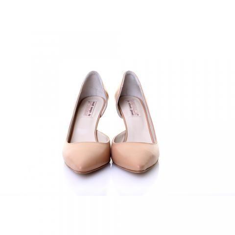 Pantofi decupati lateral piele bej/nude | The Boutique