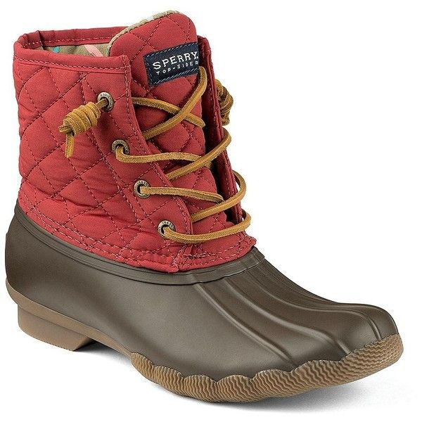 Sperry Women's Saltwater Quilted Duck Boots ($90) ❤ liked on Polyvore featuring shoes, boots, brown red, sperry boots, duck boots, laced boots, brown boots and brown lace up boots