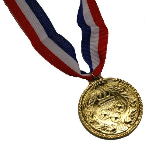 This gold medal award hangs on a red, white, and blue ribbon. On one side of the plastic medallion (2 inches wide) has a torch and on the other, a fake Olympics symbol. Perfect for any sport award, pa