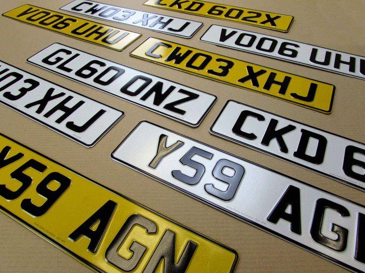 3D EMBOSSED LICENCE CAR REGISTRATION NUMBER PLATES UK PAIR PRESSED ALUMINUM