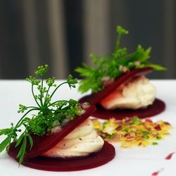 Beetroot and goat's cheese canape