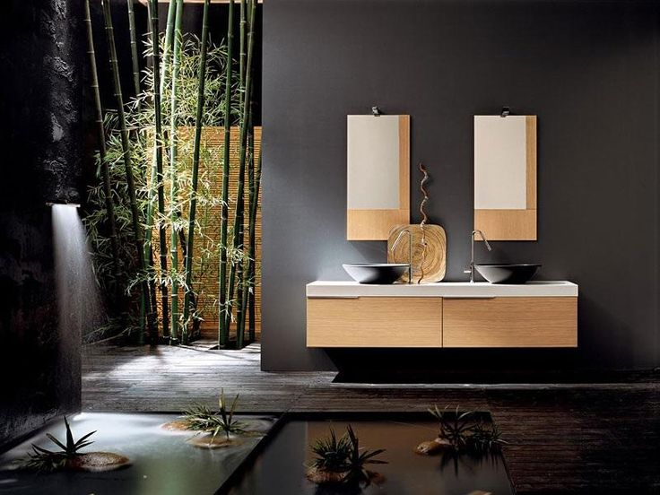 The Art Gallery Natural Bamboo Trees near Unique Bathroom Mirror Ideas and Floating Oak Vanity on Grey Wall