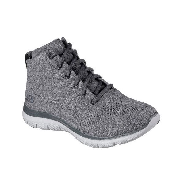 Women's Skechers Flex Appeal 2.0 In Code High Top ($77) ❤ liked on Polyvore featuring shoes, sneakers, athletic, black, trainers, cross training shoes, high top slip on sneakers, black slip-on sneakers, leopard print slip-on sneakers and black hi tops