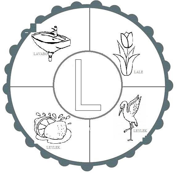 L Sesi Mandala Eğitici Mandala Alphabet Ve First Grade