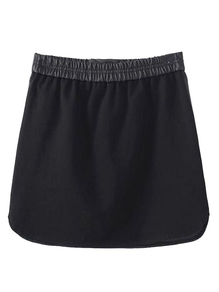 Negro PU Falda tubo con lazo   choies