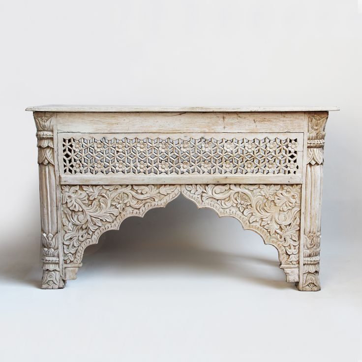 White Wash Carved Wood Architectural Console Table