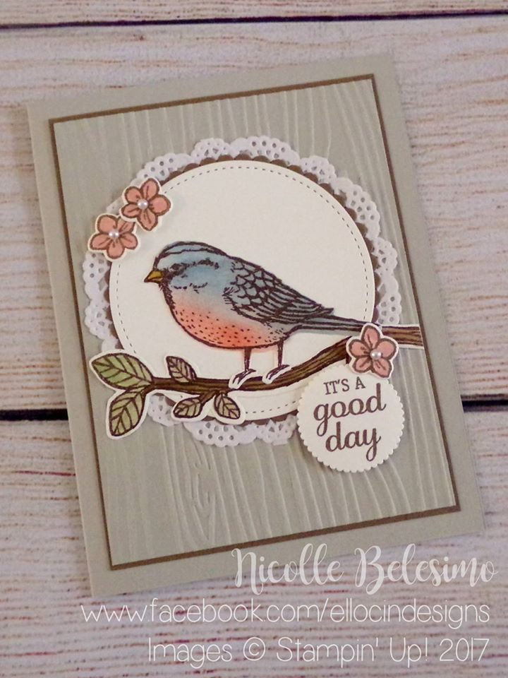 Good Day card made with Best Birds stamp set, and Layering Circles and Stitched Shapes Framelits from Stampin' Up! www.nicollebelesimo.stampinup.net