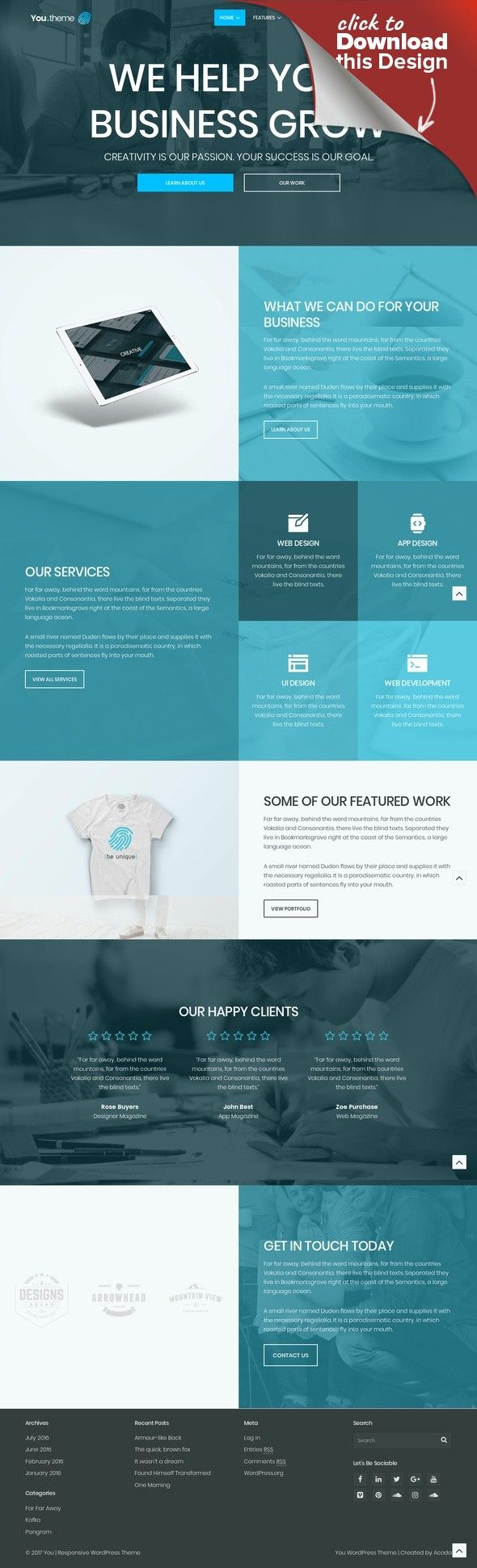 You | Multi-Purpose Responsive WordPress Theme blog, business theme, corporate, creative, ecommerce, magazine, modern, multipurpose, one page, photography, portfolio, shop You – a premium responsive WordPress theme best suited for business, ecommerce, portfolio, photography & other projects requiring a WordPress template. Last Update June 19th, 2017 Create Any Design If you're looking to create a Personal Blog, News, Photography, Po...