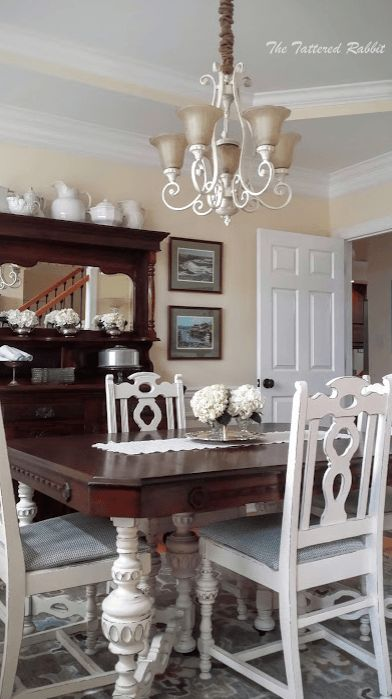 Antique White Dining Room Enchanting Decorating Design