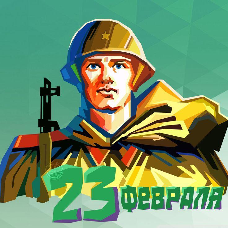 Крутая открытка с рисунком солдата в стиле WPAP